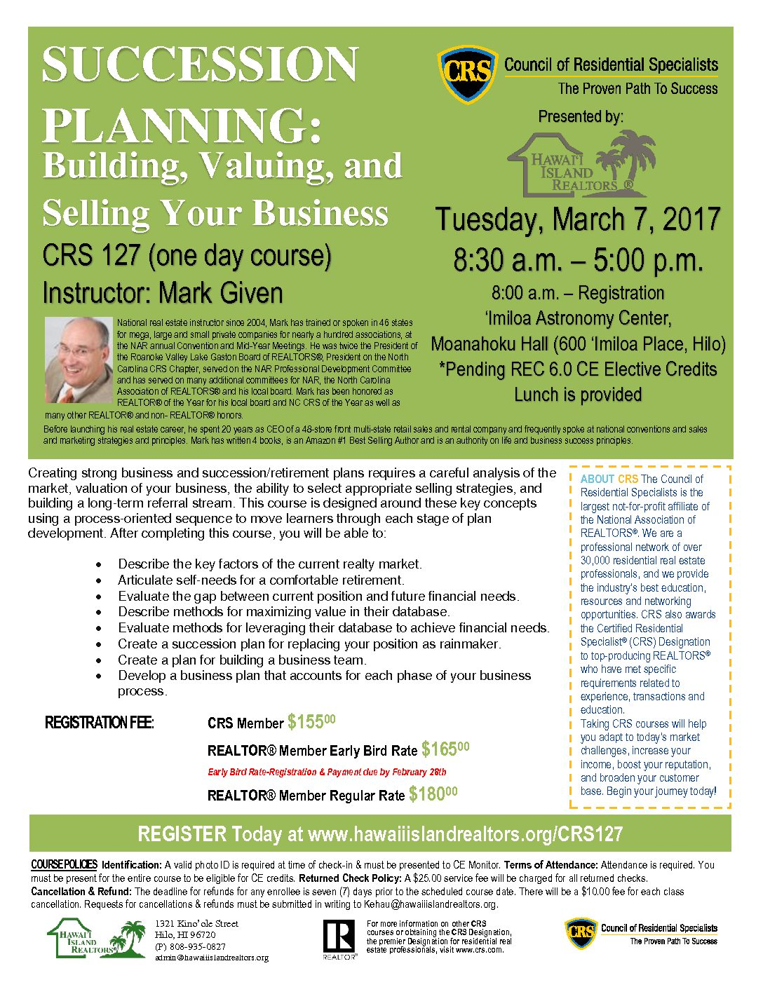 CRS 127 SUCCESSION PLANNING: Building, Valuing, and Selling Your Business
