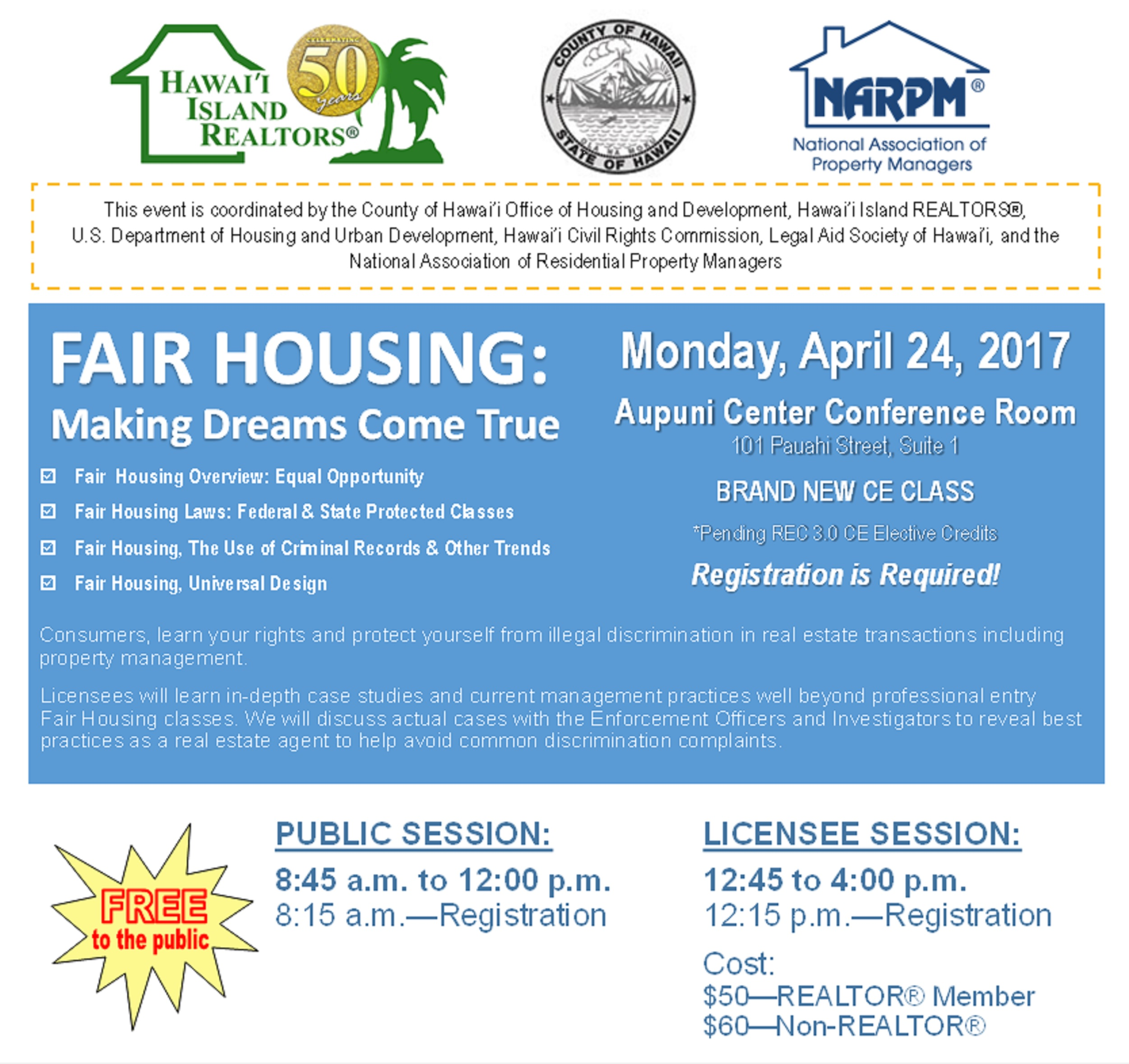 Free Fair Housing Seminar in Hilo Open To General Public & Licensees