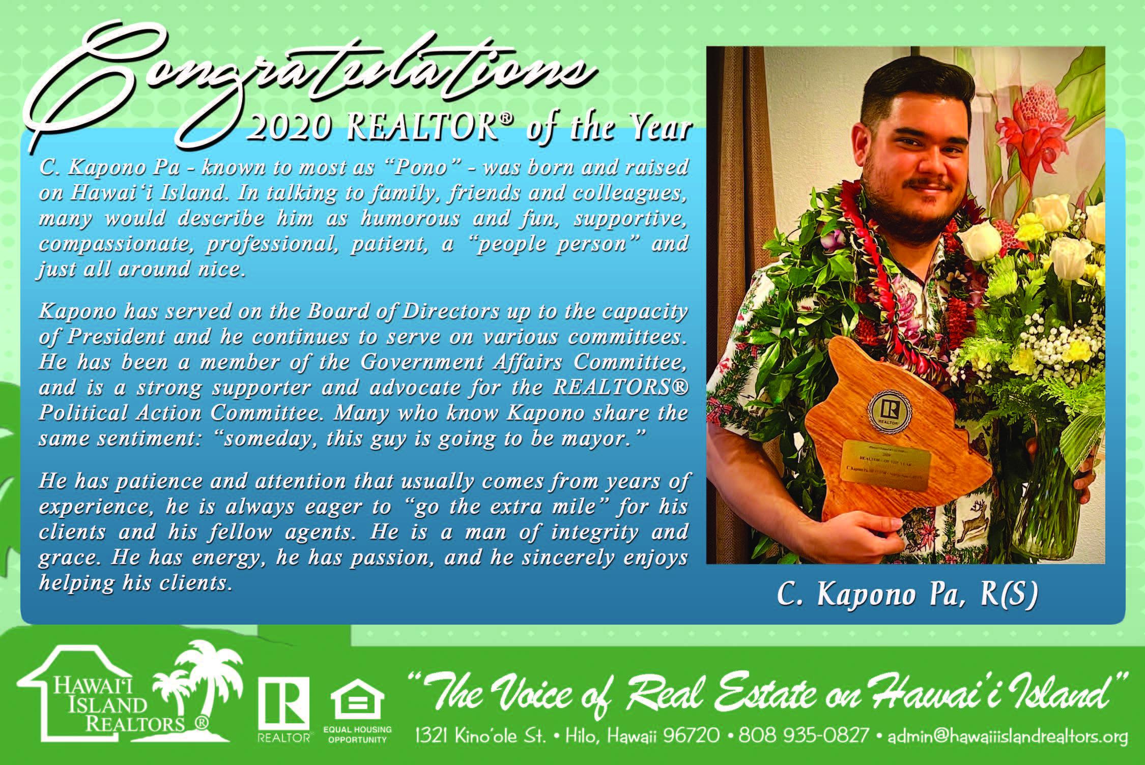 Congratulations 2020 HIR REALTOR® of the Year, C. Kapono Pa!