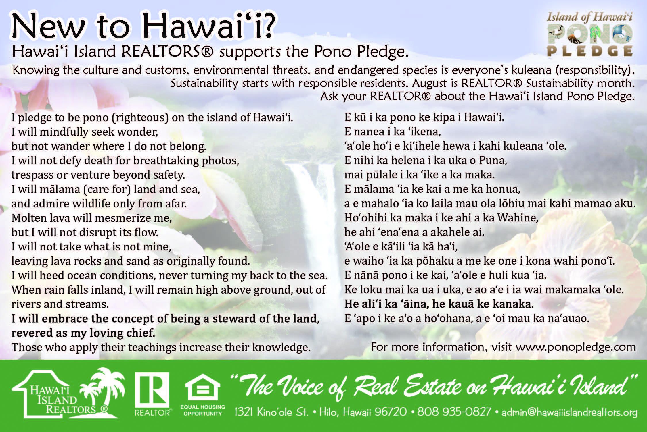 Hawai'i Island REALTORS® Supports the Pono Pledge